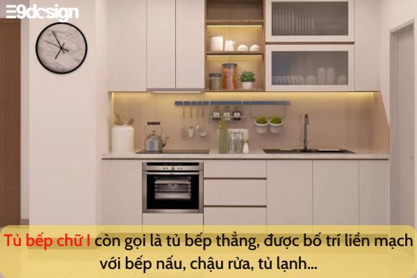 thiết kế tủ bếp nhà phố diện tích nhỏ chữ I