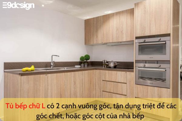 thiết kế tủ bếp nhà phố diện tích nhỏ chữ L