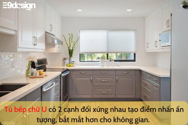 thiết kế tủ bếp nhà phố diện tích nhỏ chữ U