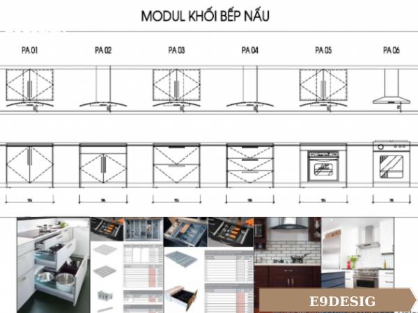 bản vẽ modul khối bếp nấu của tủ bếp