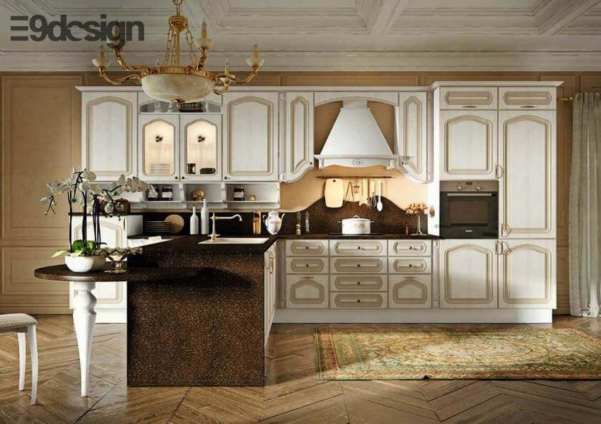 tủ bếp biệt thự phong cách cổ điển